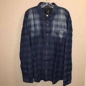 Mens Blue Crown 👑 Indigo Long Sleeve Shirt Sz XXL